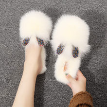 2019 Autumn New Design Double Heart Rhinestone Ear Natural Rabbit Fur Headgear Slippers Flat Shoes Half Drag Women's Shoes(China)