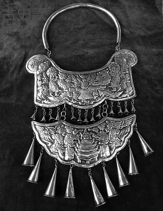 Vente chaude nouveau livraison gratuite à la main Miao argent ornement gravure dragon Phoenix tauromachie culture grand collier - 3