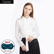LILYSILK 22mm Button Front Pleated Silk Shirts 100 Charmeuse Silk Glossy Sophisticated Knitting NEWS Free Shipping