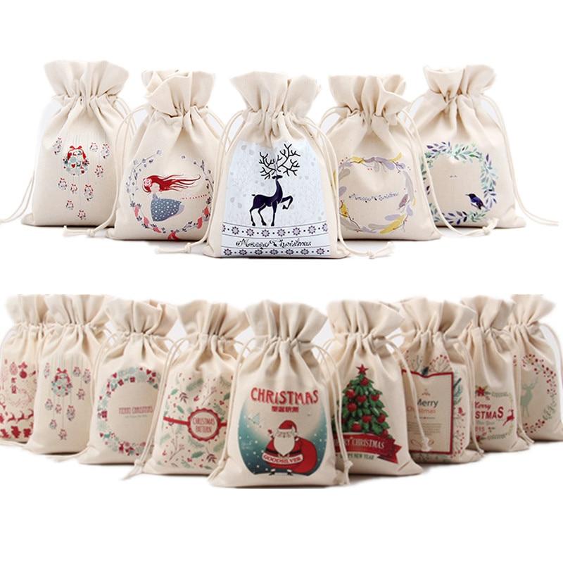 Handmade Cotton Linen Christmas Gift Bags Santa Claus Xmas Tree Packing Bags Storage Gift Bag Drawstring Bag Small Coin Purse