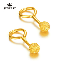 24K Pure Gold Earring Real AU 999 Solid Gold Earrings Fashion Frosted Beads Upscale Classic Party Fine Jewelry Hot Sell New 2018