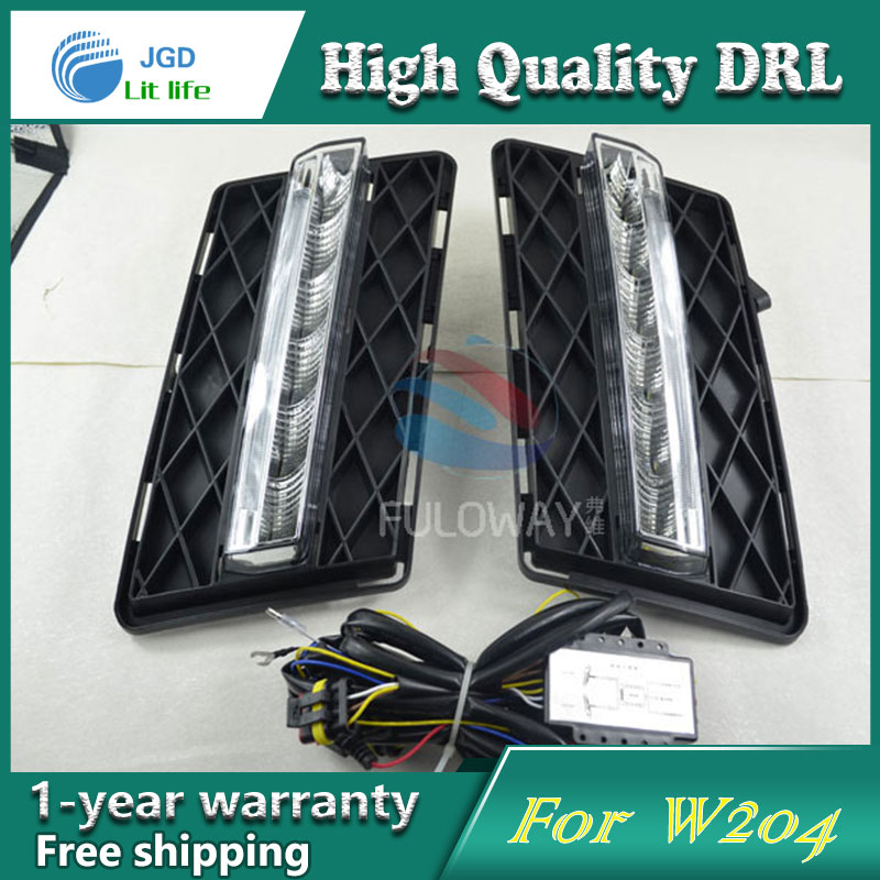 цена Free shipping !12V 6000k LED DRL Daytime running light case for Benz GLK300 GLK350 GLK500 2009-2012 fog lamp frame Fog light