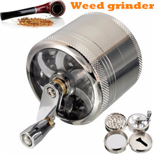 4 Layers Herb Tobacco Spice Weeds Grass Aluminium Grinder Smoke Crusher Hand Crank Muller Mill Pollinator Smoking Accessories
