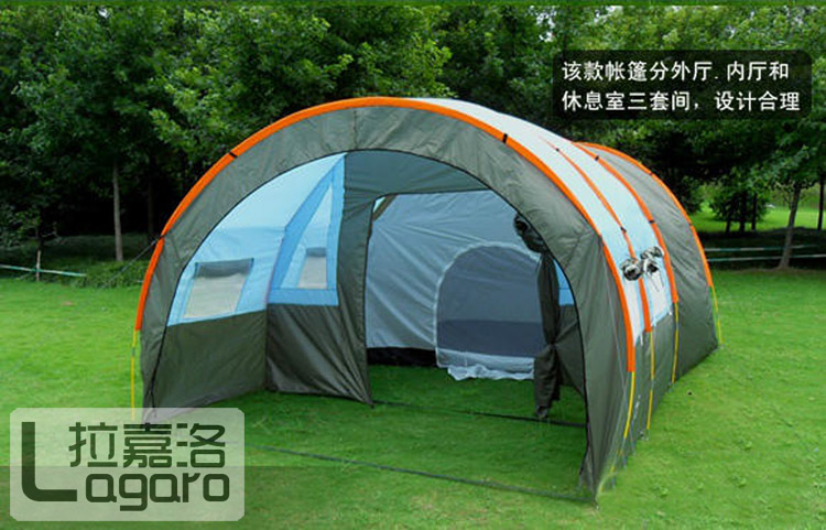 big doule layer tunnel tent 5 10 person outdoor camping family party hiking hunting fishing tourist