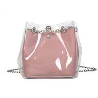 Bucket Bag Korean Version of The Wild Transparent Shoulder Diagonal Zipper Bag Open Pocket High Quality PU Leather Phone Bag