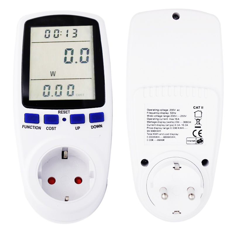 EU Plug Electricity Power Energy Watt Voltage Amps Current Meter Analyzer with Usage Monitor 40% off