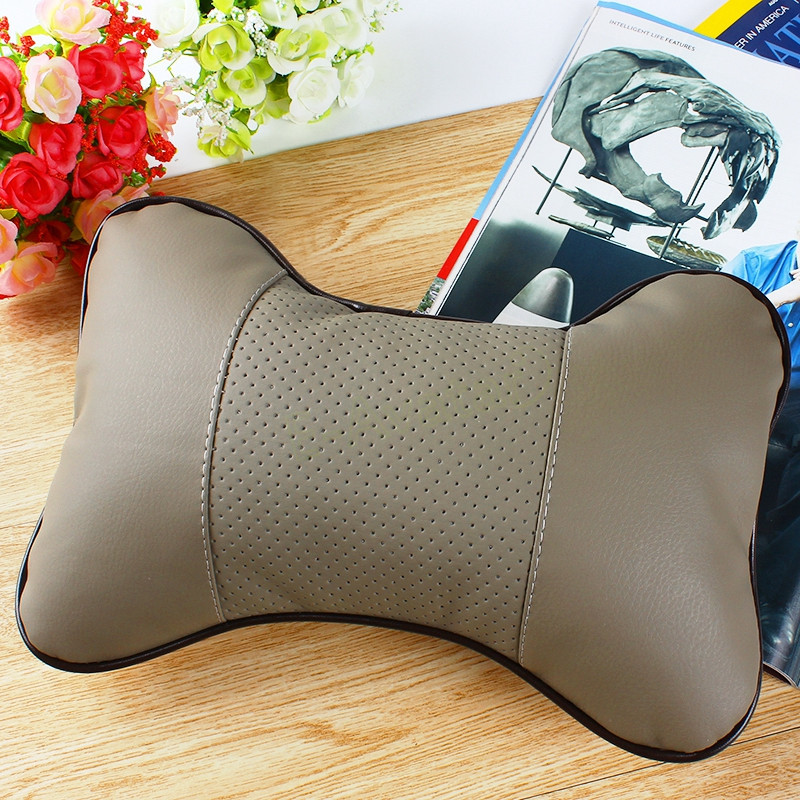 Beige High Quality Leather Car Neck Pillow for Auto Safety