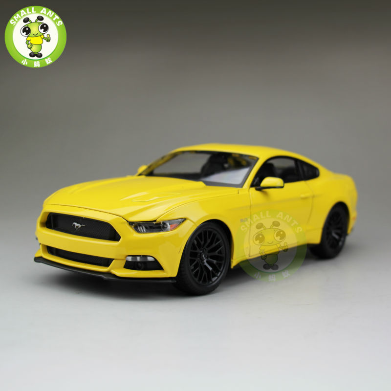 1 18 2015 Ford Mustang GT 5 0 diecast car model Toys for Kids gifts Yellow