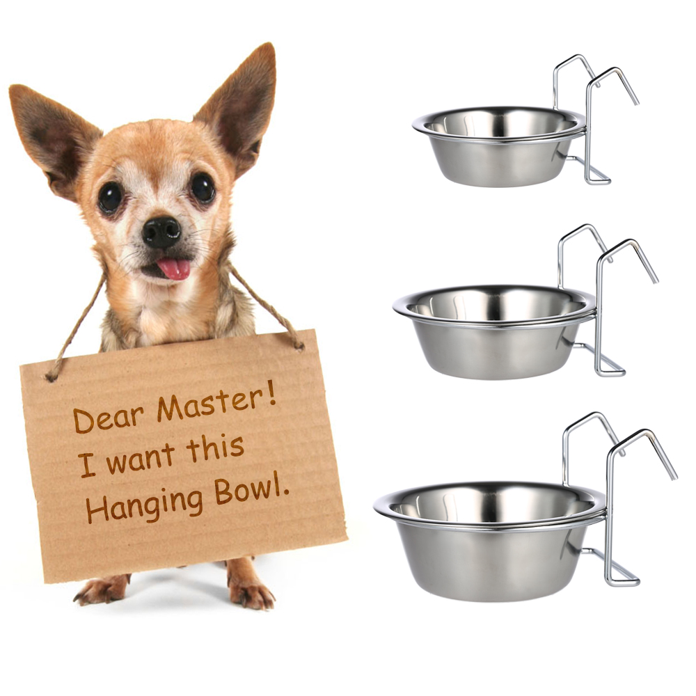 <font><b>Practical</b></font> <font><b>Stainless</b></font> <font><b>Steel</b></font> <font><b>Hanging</b></font> <font><b>Pet</b></font> <font><b>Dog</b></font> <font><b>Cat</b></font> <font><b>Cage</b></font> Bowl Kennel Coop Cup Bowl for <font><b>Dog</b></font> Bird Rabbit <font><b>Dog</b></font> Feeding Watering Supplies
