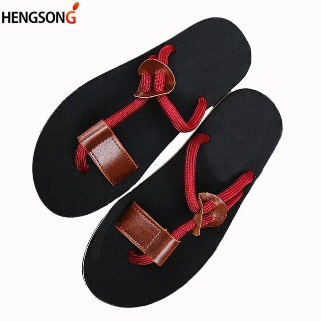 77e0c6a6a 2018 New Fashion Men Flip Flops Men's Flats Shoes Summer Beach Slippers  T-Tied Non-slip Plus Size Big Shoes Sandals Man OR915447