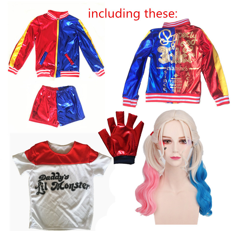 d74991c0d490 Detail Feedback Questions about Women Femme Girls Harley Quinn Cosplay  Suicide Squad Costume JOKER Jacket suits with wig New Year Halloween Costume  on ...