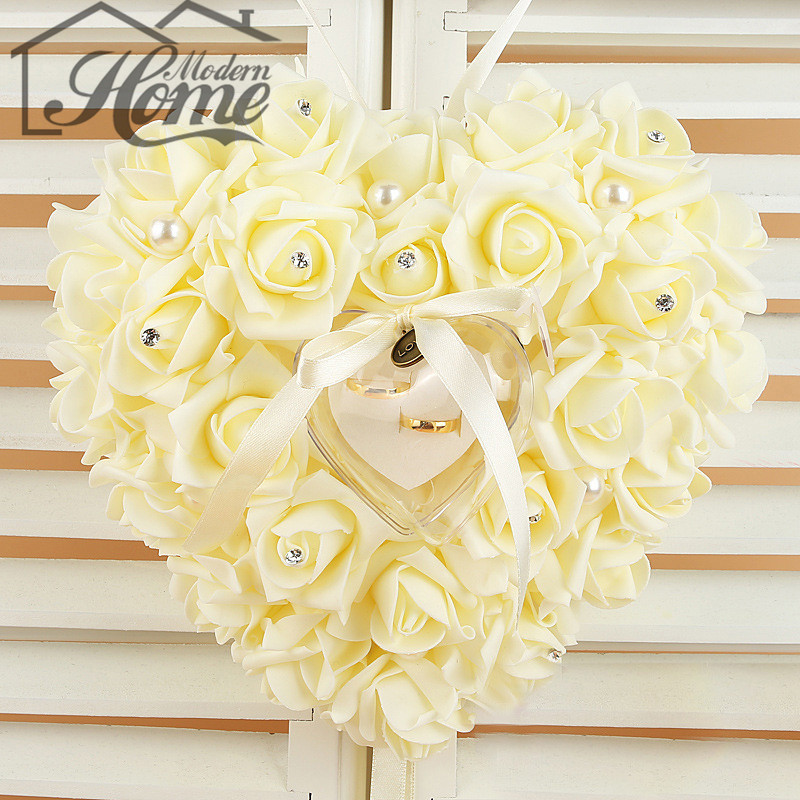 1pc High Quality Beige Color 21 * 23cm Wedding Favors Ring Pillow With Transparent Ring Box Special Heart Shape Design Decor