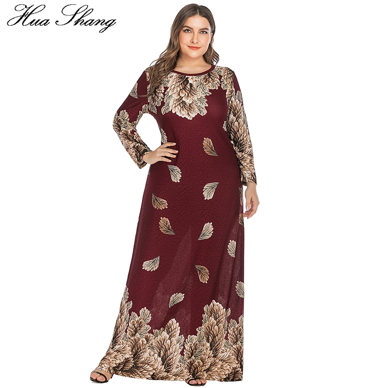 Long Sleeve Women Winter Dress Plus Size 2019 Leaves Print Red Casual Party Dress Loose Oversized Ladies Tunic Maxi Long Dresses