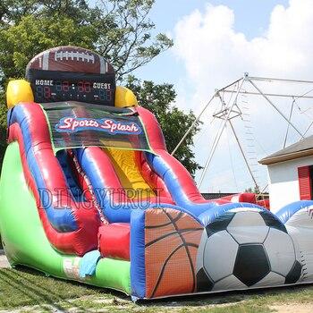 PVC inflatable slides Football sport game inflatable dry slide in inflatable slide for kids with CE blower цена 2017
