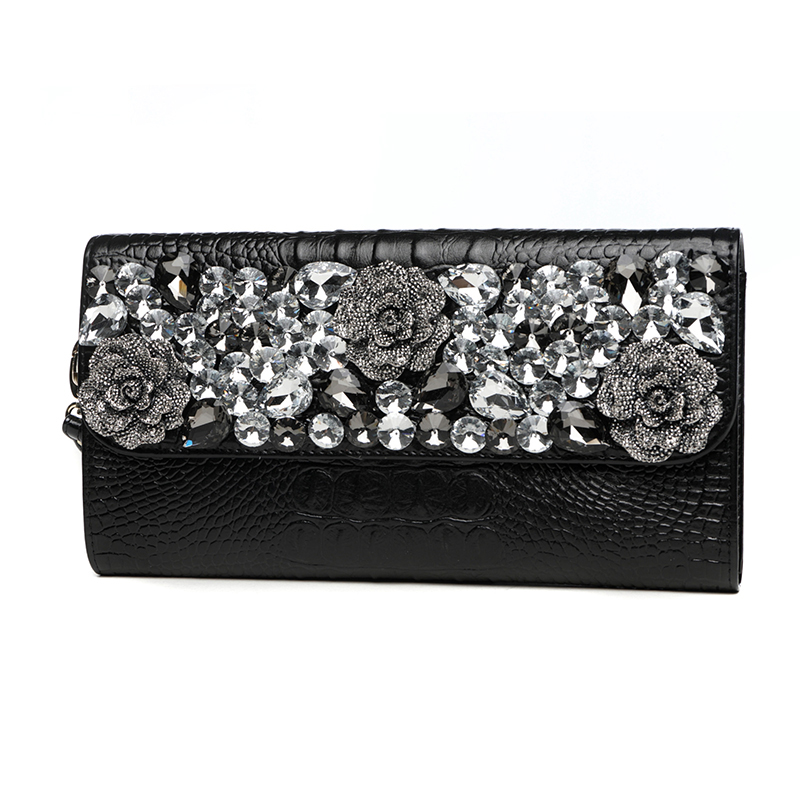 Womens Banquet Diamond Rose Clutch Wallet Ladies Purse Shoulder Bag Handbag Alligator Genuine Leather Long Chains Day Clutches celebrity day clutches high capacity handbag fashion star long wallet purse evening banquet chains shoulder crossbody bag zipper