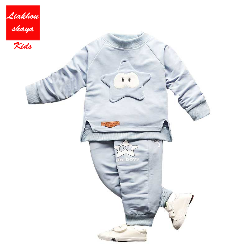 New Baby Girls/Boys Set Cartoon Stars Pure Cotton Clothing Sets T-Shirt+Pants Children Tracksuit  Kids Girls Clothes for spring malayu baby kids clothing sets baby boys girls cartoon elephant cotton set autumn children clothes child t shirt pants suit
