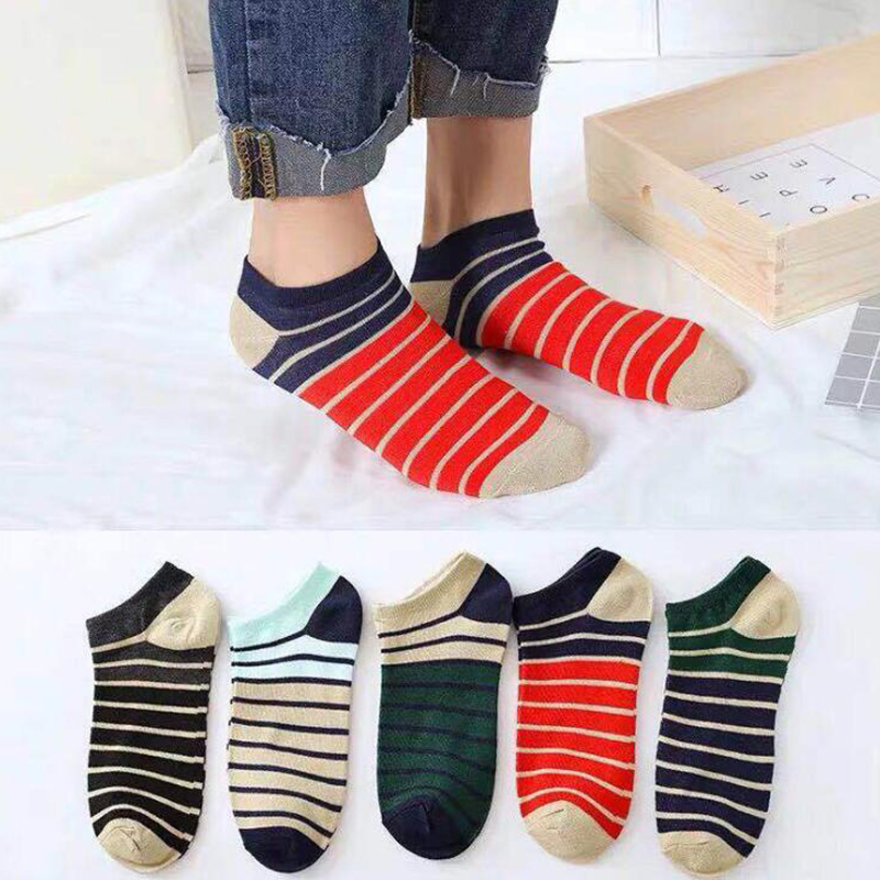 5 Pairs/lot Cotton Men's Socks Stripe Short Socks Ankle Summer Breathable Invisible Sock Men Casual Business Soft Socks Male