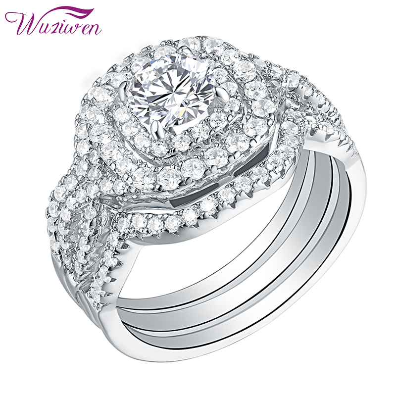 Wuziwen 3 Pcs 925 Sterling Silver Halo Wedding Engagement Rings Bridal Set For Women 2.1Ct Round Cut AAA Zircon Classic Jewelry