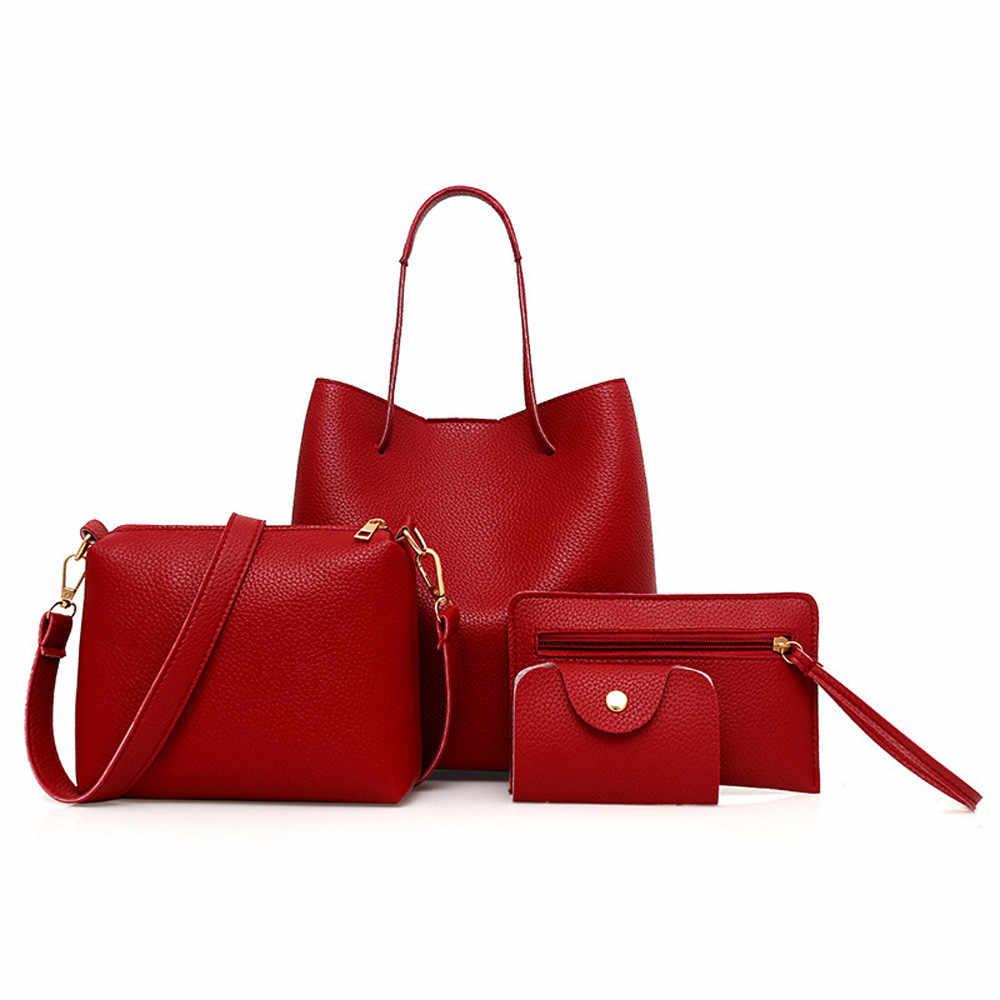 4Pcs Wanita Pu Kulit Tas Tangan + Selempang Tas + Tas + Kartu Paket Padat Ritsleting Tas Wanita Set dompet Bolso Mujer