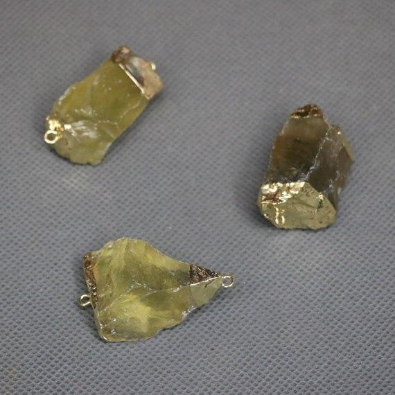 5 шт. натуральный белый желтый и зеленый цвета кристалл кварца Бусины, позолоченные пробуренных край Цепочки и ожерелья Точка подвеска, Для ...