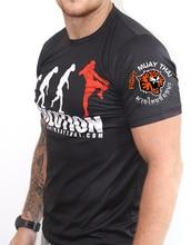 VSZAP Fitness Quick-Drying T-shirt Mens Tiger Evolution Print MMA Fighting Short Sleeve UFC Muay Thai Sanda Fashion Tshirt Men