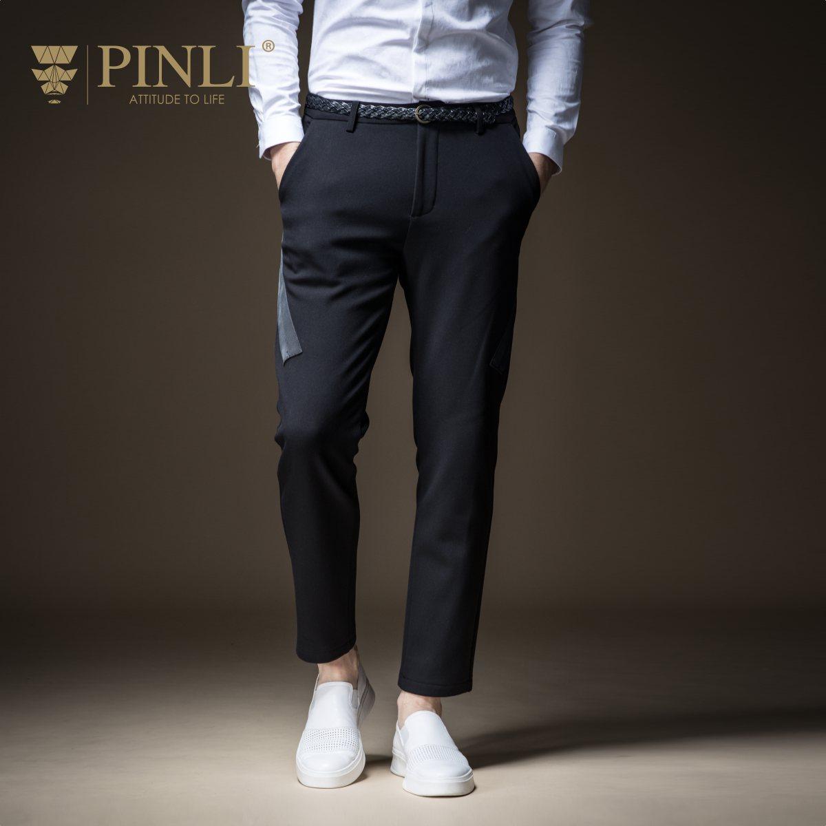 Pantaloni Degli Uomini di Vendita Pinli Prodotto a Base di Autunno 2018 dei Nuovi Uomini di Coltiva La Sua Moralità Per Il Tempo Libero Pantaloni B183517488 Velluto Ispessimento E Piedi
