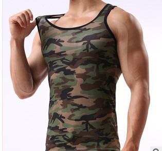 2017 Nieuwe Haai Singlets Mens Tank Tops Militaire Stijl Camouflage Mannen Vest Sexy Camouflage Mannen Clothing Kleding