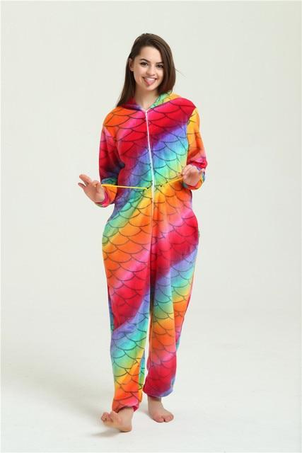 Животных Тигр Kigurumi оптовая продажа рыбьей чешуи Единорог Onesie для  взрослых унисекс Косплэй костюм пижамы для a545907254aa9