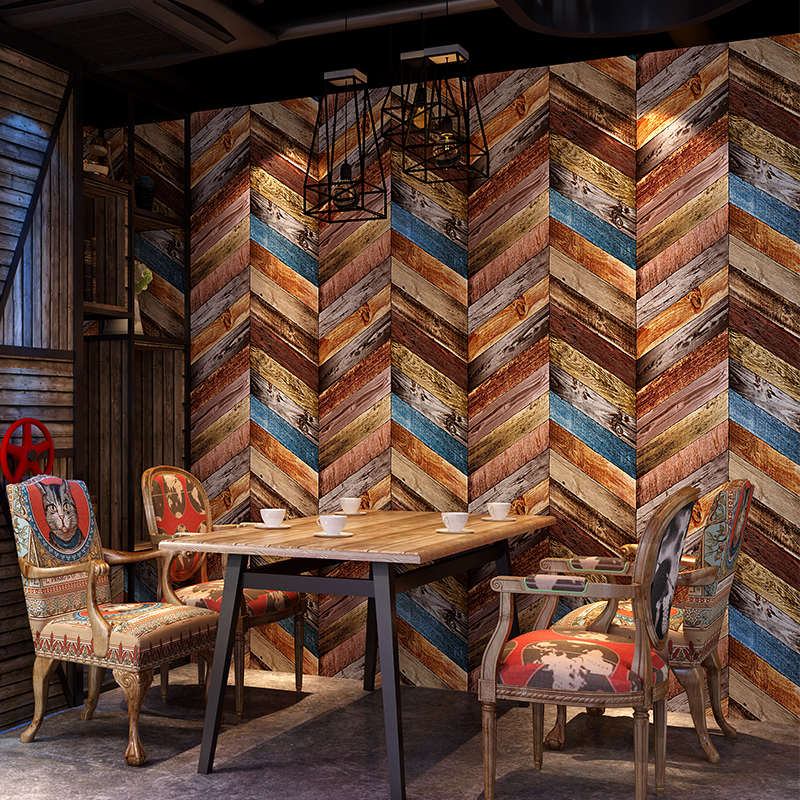 Imitation wood grain wallpaper 3D stereoscopic old American style wood creative background restaurant KTV Nordic wallpaperImitation wood grain wallpaper 3D stereoscopic old American style wood creative background restaurant KTV Nordic wallpaper