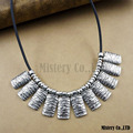 Ethnic Exaggerated Waves Vintage Antique Silver Color PU Choker Necklace Statement Jewelry Jewellery Gift For Women Girls