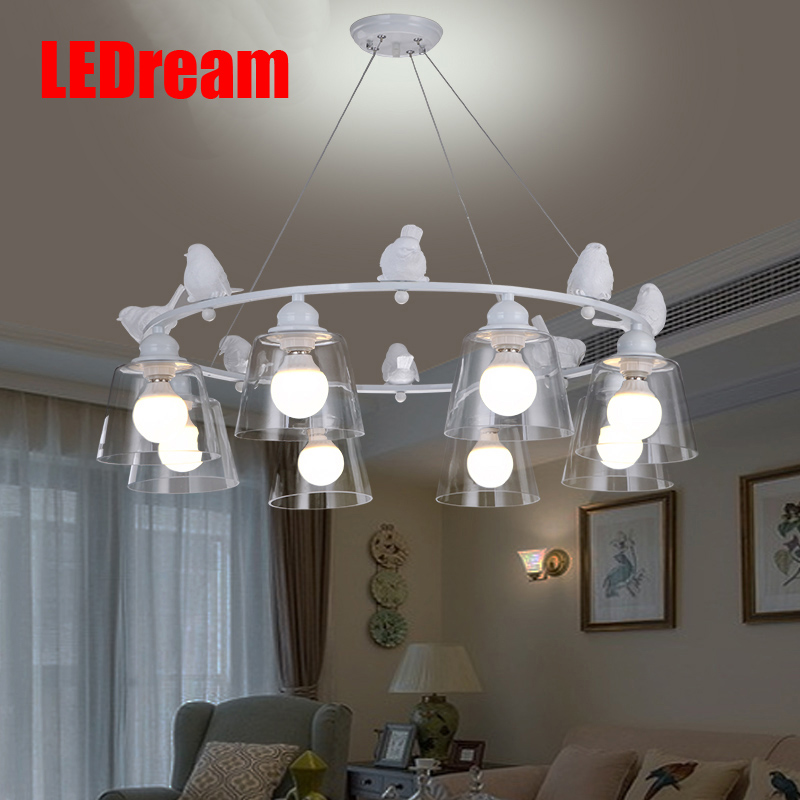 Sitting room droplight Nordic contracted bedroom modern art creative fashion personality decoration restaurant bird pendant european restaurant bar counter personality single head droplight creative crystal glass chimney droplight sitting room