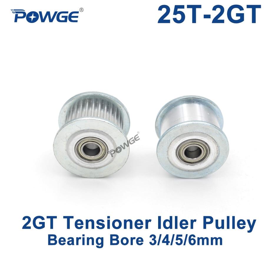 POWGE 25 Teeth 2GT Idler Timing Pulley synchronous Wheel Bore 3/4/5/6mm with Bearing for Width 6/10MM GT2 Open belt 25T 25TeethPOWGE 25 Teeth 2GT Idler Timing Pulley synchronous Wheel Bore 3/4/5/6mm with Bearing for Width 6/10MM GT2 Open belt 25T 25Teeth
