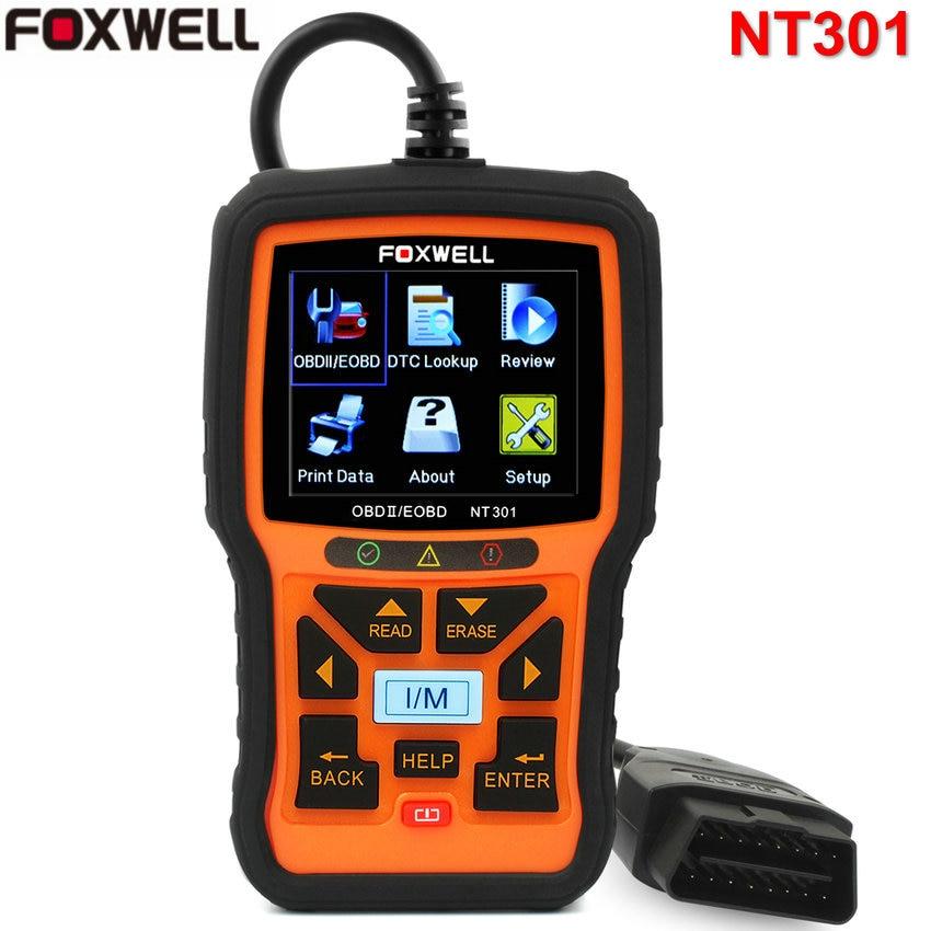 Цена за Может OBD2 автомобиля диагностический инструмент Code Reader Gomme сканер автомобилей OBDII OBD 2 сканер Foxwell NT301