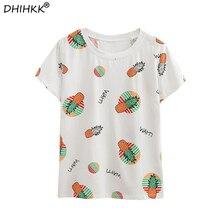 9b370700195b DHIHKK 2018 Women T shirt Letter Pineapple Printed O-neck White Tops Cute  Tees Casual