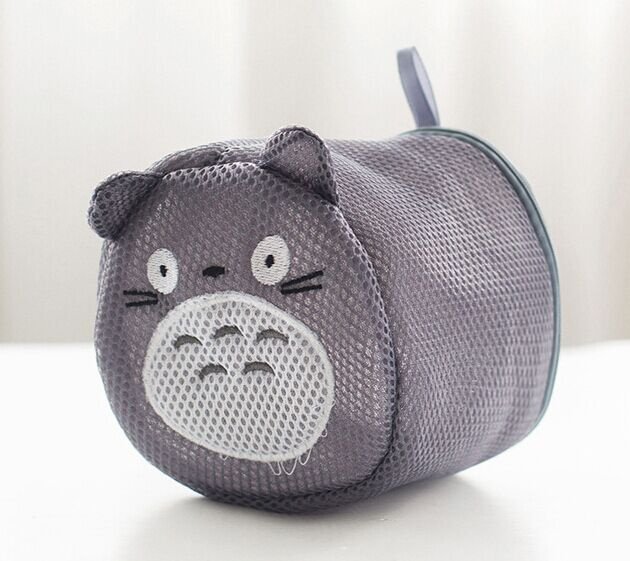 Kawaii Gray TOTORO Mesh NET 16*11CM Bathroom Clothes Basket , Underware Storage  Container BOX