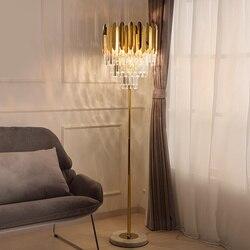 Darmowa wysyłka Nordic D460mm H1600mm złoty K9 kryształ piętro światła kryty lampy świeczniki na lampa podłogowa lampa LED AC 100% gwarantowana