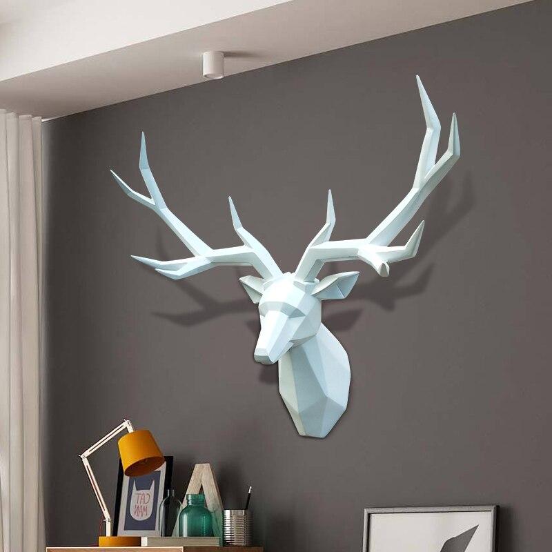 Décoration de la maison accessoires 3D cerf Statue grand Animal Figurine décoration murale Sculpture 54x42x20 cm ornement décorations de mariage