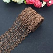 Rede de artesanato bilateral bordada, laço de renda marrom larga 45mm de comprimento, 10 jardas/lote decorações