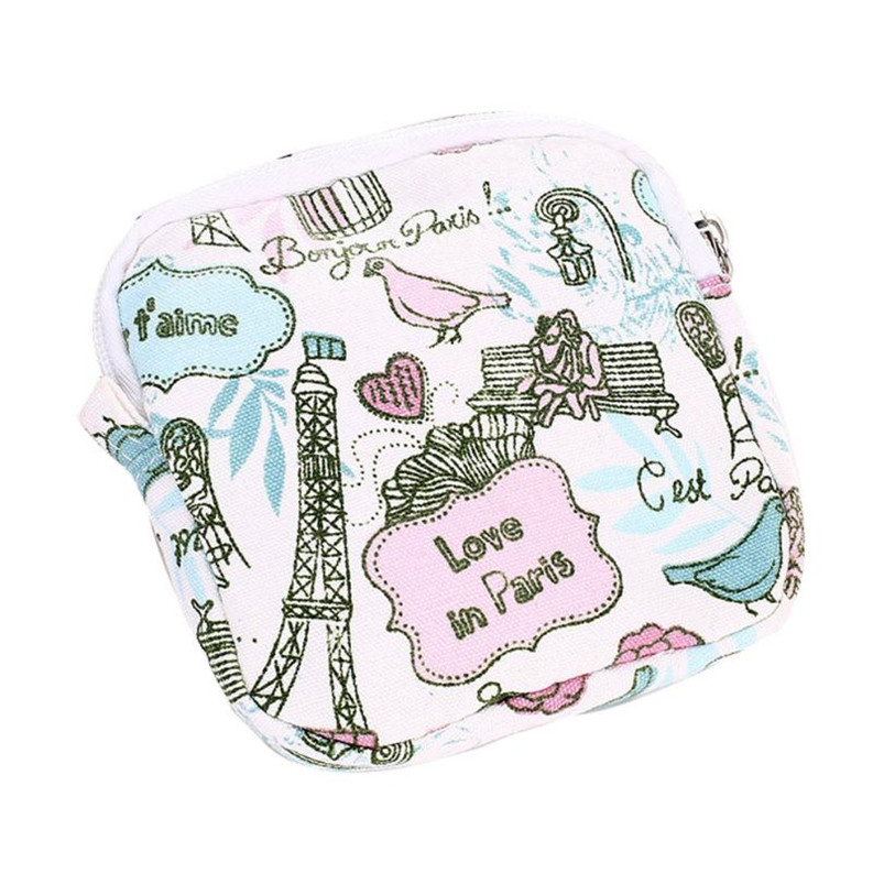 Sanitary Napkin Case/Bag Women Girl Cute Credit Card Holder wallets Bag cotton storage bag Zipper Towel Pattern Long Purse Bags цены онлайн