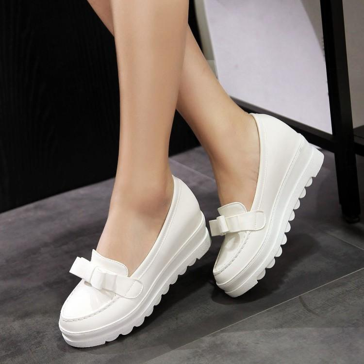 2019 New Sweet Single Shoes With Butterfly Knot And Thick Sole  Womens Shoes  Custom Code 33 40 41 42 43