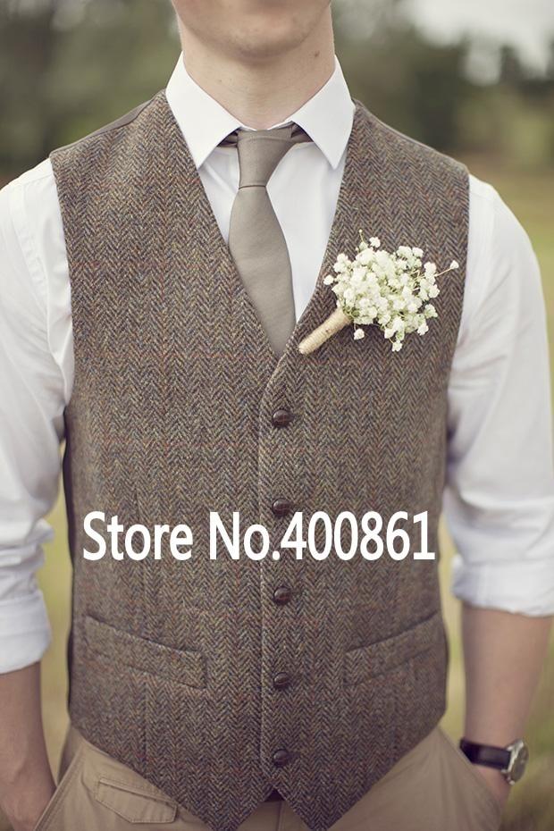 fashion Brown tweed Vests Wool Herringbone British style custom made Mens suit tailor slim fit Blazer W2
