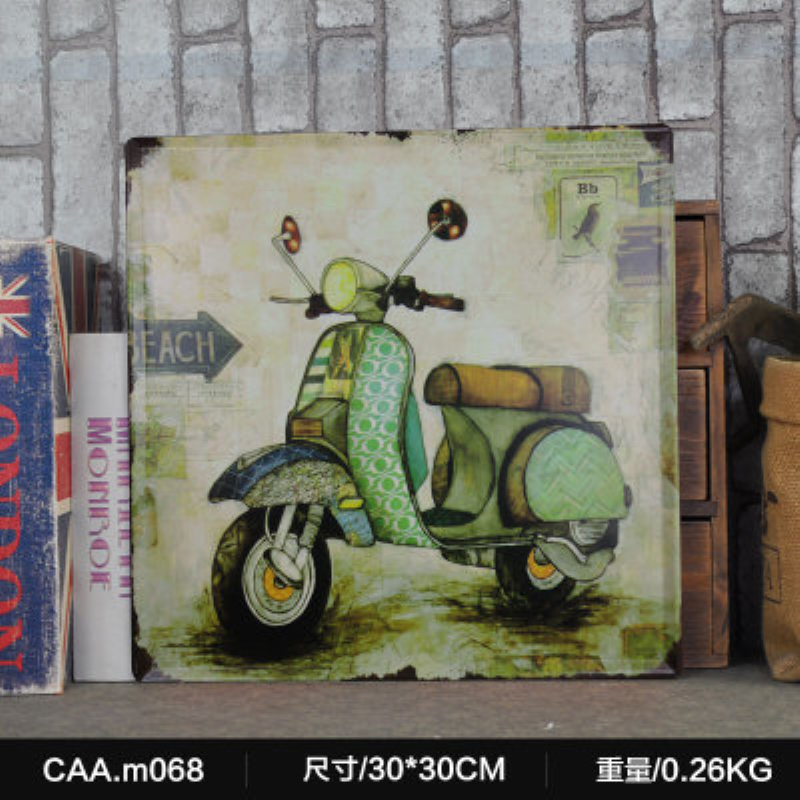 Motorcyle Large Vintage Metal Painting Poster Wall Sticker Tin Sign Retro Iron Art Bar Cafe Wall Decoration 30X30 CM