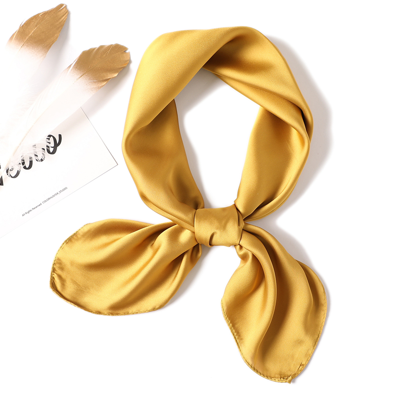 2019 SUMMER solid color women   scarf   fashion smooth soft silk   scarves   square office neck   scarf   hijab   wraps   foulard shawls