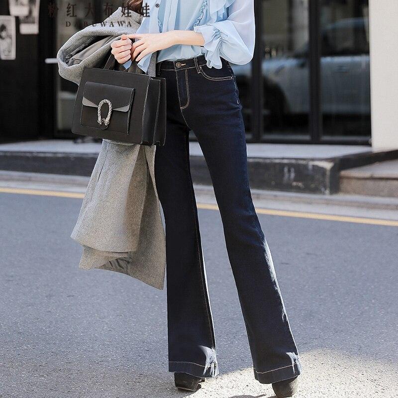 original 2017 brand autumn winter new fashion korean slim flare jeans women wholesale