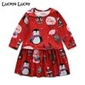Мода девушки одеваются симпатичные vestido infantil пингвин печатных одежда для девочек с длинным рукавом красное платье для девочек