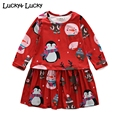 Fashion girls dress cute vestido infantil penguin printed girls clothes long sleeve red dress for girls