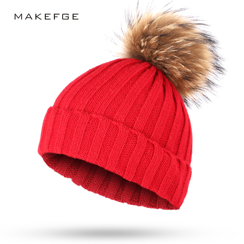 a46353f122299 15 colors real raccoon fur pompom thick warm winter women red hat knit  bobble female cap with fur pom pom lady fur ball beanie-in Skullies    Beanies from ...