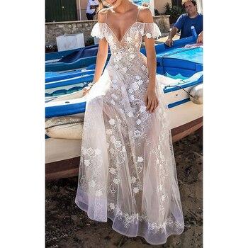 bcb735010 Encaje Floral bordado hueco largo Maxi vestido transparente fuera del  hombro mujeres cuello en V Sexy Club vestido de fiesta elegante