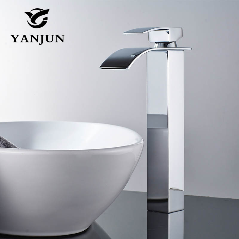 Yanjun Waterfall Brass Basin Faucet  Deck Mounted Single Lever Single Hole  Cold&Hot bathroom basin mixer tap  YJ-6673