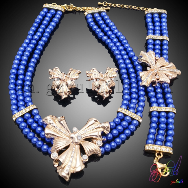 Free Shipping Yulaili Artificial Factory Customized Flower Design Anniversary Women Costume Two Beaded Jewelry Set